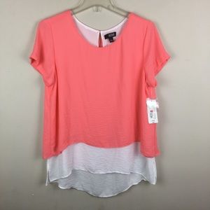 a.n.a. Coral/ white layered tunic top